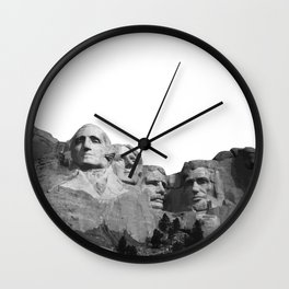 Mount Rushmore National Memorial South Dakota Presidents Faces Graphic Design Illustration Wall Clock