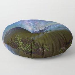 Milky Way Over Mount Rainier Floor Pillow