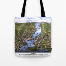 MYSTIC RIVER CONNECTICUT city old map Father Day art print Tote Bag