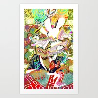 dangan ronpa Art Prints featuring attack on ronpa by ESCL