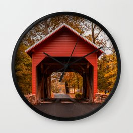 Bridging Maryland Historic Red Covered Bridge Frederick County Wall Clock