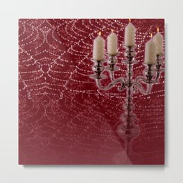 Red Damask Web Candelabra Metal Print
