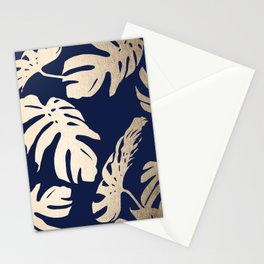Simply Palm Leaves in White Gold Sands on Nautical Navy Stationery Cards