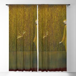 Dragonfly in Fields of Gold - Magical Realism Blackout Curtain