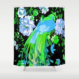 Flower and Peacock Garden Shower Curtain