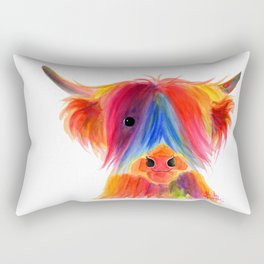 Scottish Highland Cow ' PANCAKE ' by Shirley MacArthur Rectangular Pillow