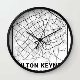 Milton Keynes Light City Map Wall Clock