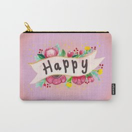 Watercolor Happy Flowers Banner Carry-All Pouch