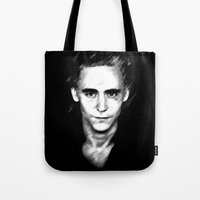 tom hiddleston Tote Bags featuring Loki (Tom Hiddleston) by Olive in Pinkland