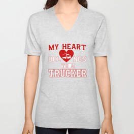 My heart belongs to a Trucker Unisex V-Neck