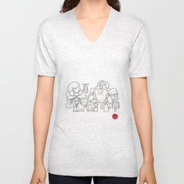 robots, mech, line, black and white, drawing, machines Unisex V-Neck