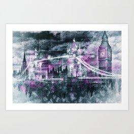 Modern-Art LONDON Tower Bridge & Big Ben Composing Art Print
