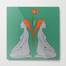Sisters Twins Soulmates Reflection Flower Metal Print