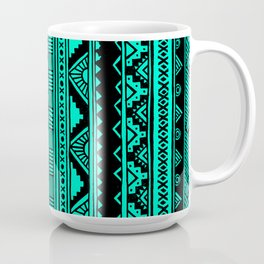 Black Mint Turquoise Cute Girly Urban Tribal Aztec Andes Abstract Geometric Pattern Coffee Mug