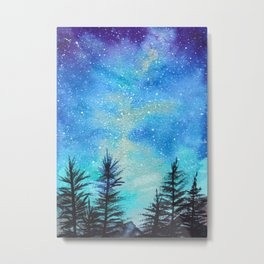 Teal Evergreen Galaxy Metal Print