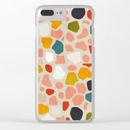 terrazzo mosaic shapes modern Clear iPhone Case