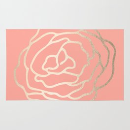 Flower in White Gold Sands on Salmon Pink Rug