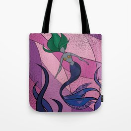 Mermaid Stained Glass (Royal) Tote Bag