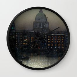 St. Paul's Cathedral on the River Thames, London by Louis H. Grimshaw Wall Clock