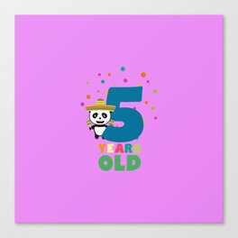 Five Years fifth Birthday Party Panda Dbknv Canvas Print
