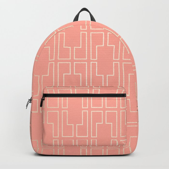 Simply Mid-Century in White Gold Sands on Salmon Pink Backpack