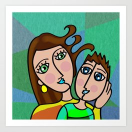 Mother and Son Cubism Art Art Print