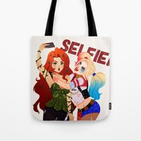 selfie Tote Bags featuring Selfie! by Awdrey