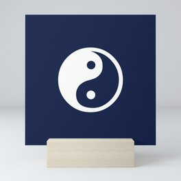 Navy Blue Yin Yang Mini Art Print