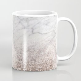 Bold ombre rose gold glitter - white marble Coffee Mug