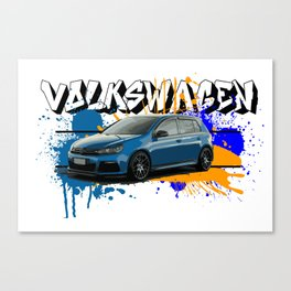 VW Golf R - with words Canvas Print