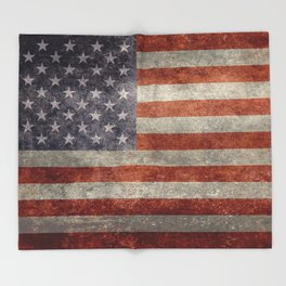USA flag - Retro vintage Banner Throw Blanket