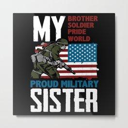 USA Military Flag Patriot Pride Brother Sister Metal Print