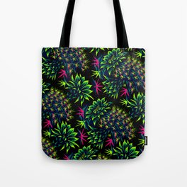 Cactus Floral - Bright Green/Pink Tote Bag