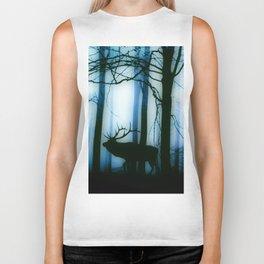 Deer in the blue forest Biker Tank