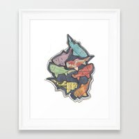 newspaper Framed Art Prints featuring Newspaper Fish by Kate Allison