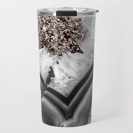 Gray Black White Agate with Rose Gold Glitter #2 #gem #decor #art #society6 Travel Mug