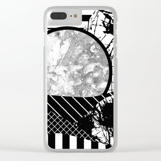 Eclectic Black And White - Black and White Abstract Patchwork Textured Design Clear iPhone Case