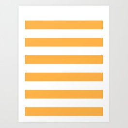 Horizontal Stripes - White and Pastel Orange Art Print