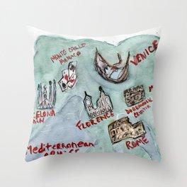 Mediterranean Cruise Watercolored Map Throw Pillow