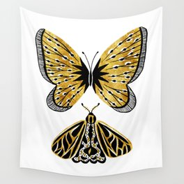Golden Butterfly & Moth Wall Tapestry
