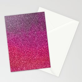 Modern pink purple ombre faux glitter color block Stationery Cards