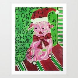 This little santa piggy Art Print
