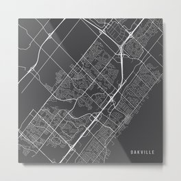 Oakville Map, Canada - Gray Metal Print