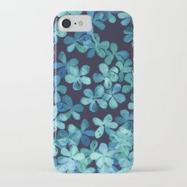 Hand Painted Floral Pattern in Teal & Navy Blue iPhone Case