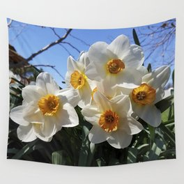 Sunny Faces of Spring - Gold and White Narcissus Flowers Wall Tapestry