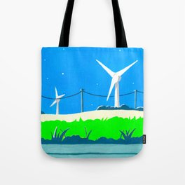 Wind turbines before nightfall Tote Bag