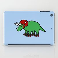 roller derby iPad Cases featuring Roller Derby Triceratops by Jez Kemp