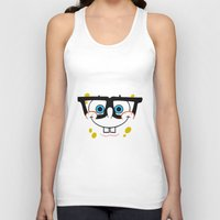 spongebob Tank Tops featuring Spongebob Nerd Face by Cute Cute Cute