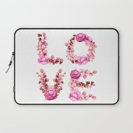 L-O-V-E in Pink Flowers Laptop Sleeve