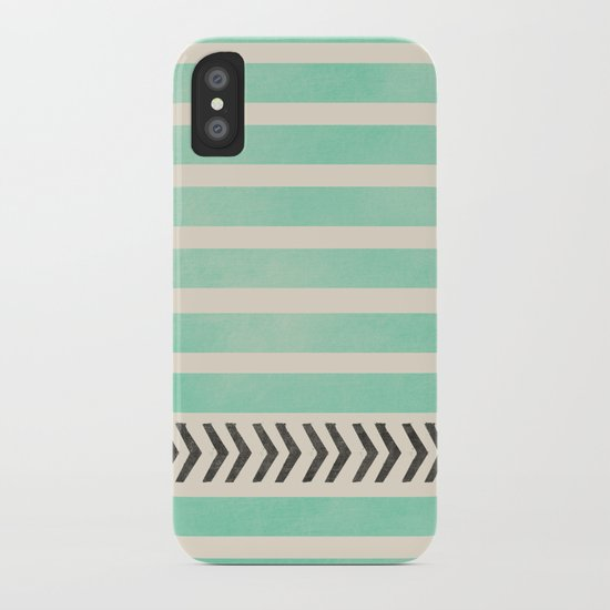 MINT STRIPES AND ARROWS iPhone Case